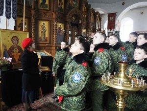 Казачата 73 взвода Ейского казачьего кадетского корпуса  вместе со своими педагогами и воспитателями посетили храм