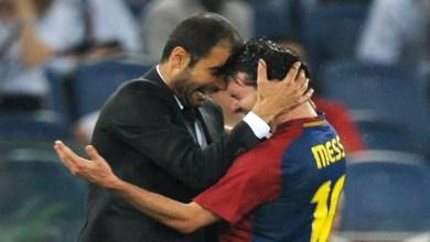 Imagem - Lionel Messi e ex-técnico Pep Guardiola.
