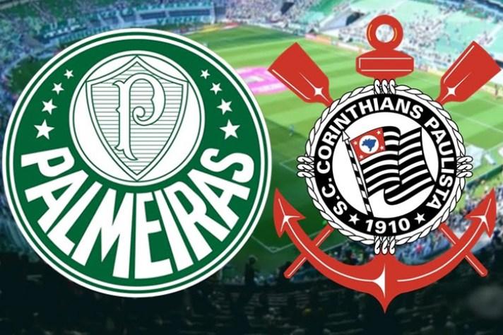 Brasões Palmeiras e Corinthians.