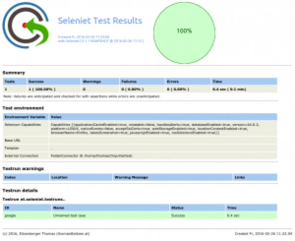 Getting Started Test report