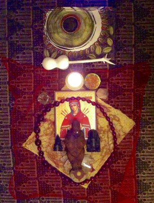 Black Moon Ritual Altar with Venus (center) and crowned with Mary of the Seven Swords - who will soften the hardened heart