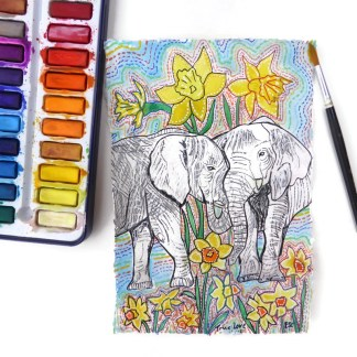 Elephant watercolour by Larryware