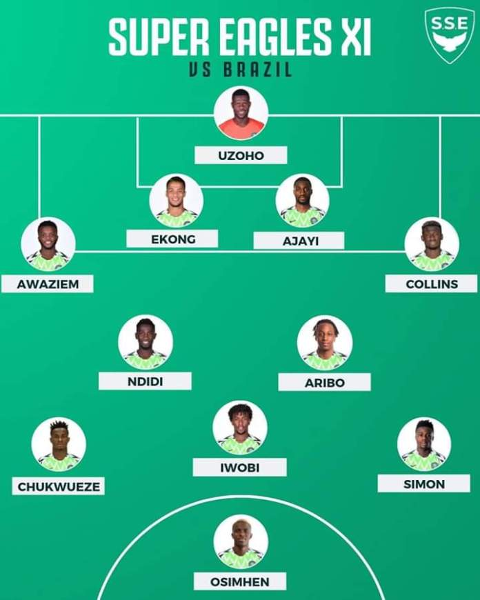 Nigeria Vs Brazil Match in Singapore is Interesting. Starting Line-up for both teams. Nigeria Super Eagles leads now courtesy of Joe Aribo second goal in a sophomore cap for Nigeria  #BRANGA