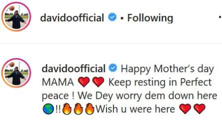 Davido Shares Photo Of His Mother Carrying Him As A Baby To Wish Her A Happy Mothers' Day