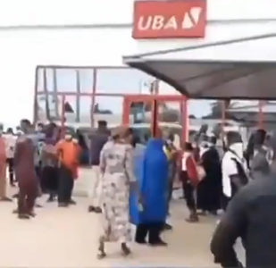 Moment LGA Chairman storms bank to chase customers over social distancing
