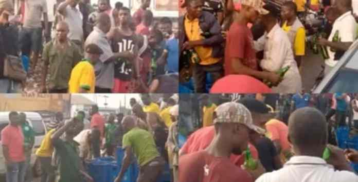 Residents Drinks To Stupor As Trailer Full Of Beer Fell In Anambra State (Watch Video)