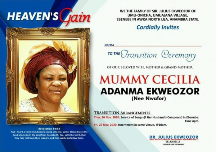 Biography of Late Mummy Ekweozor, Family Announces Date For Burial