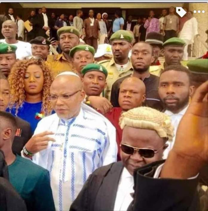 Nnamdi Kanu appears in court for the resumption of his trial on treason and felony. May justice prevail!!!