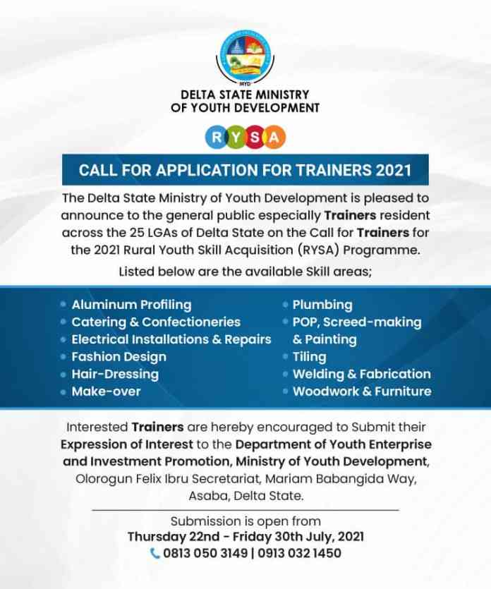 Delta State 2021 Rural Youth Skill Acquisition (RYSA) Programme