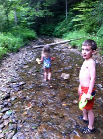 Creek dipping.