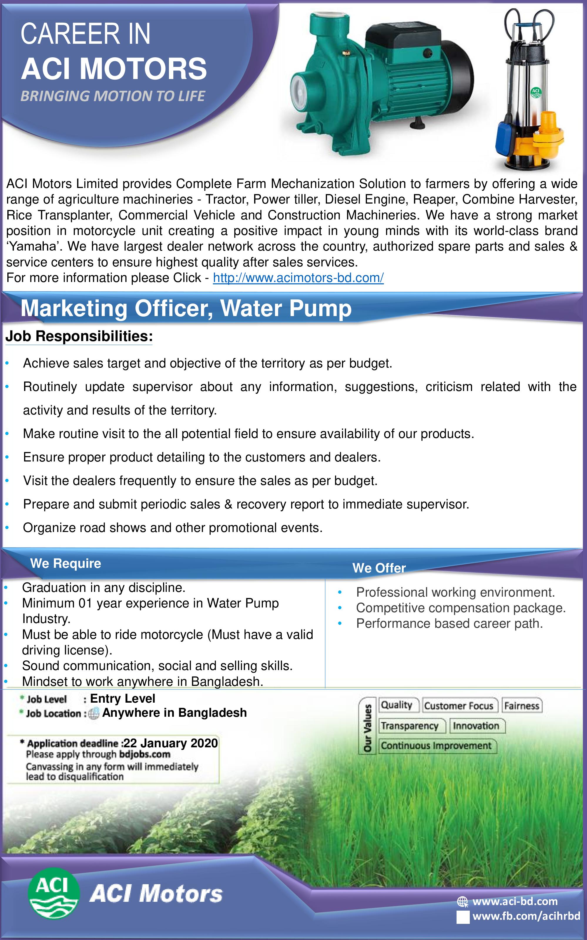 ACI Motors Limited job circular 2020