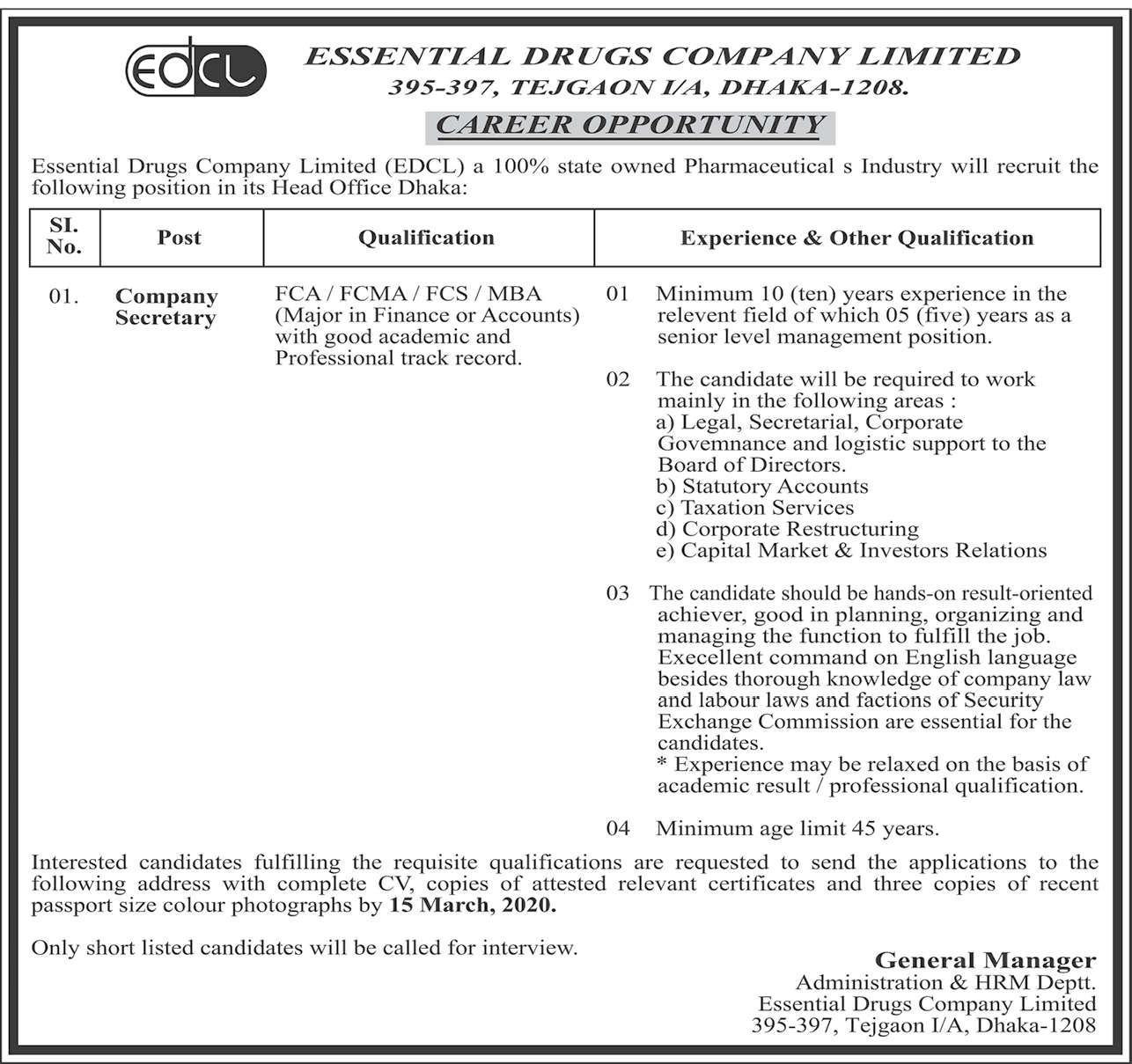 EDCLJob Circular - cca.gov.bd