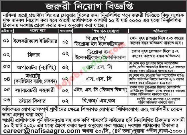 Nafisa Agro Products Ltd Job Circular 2020