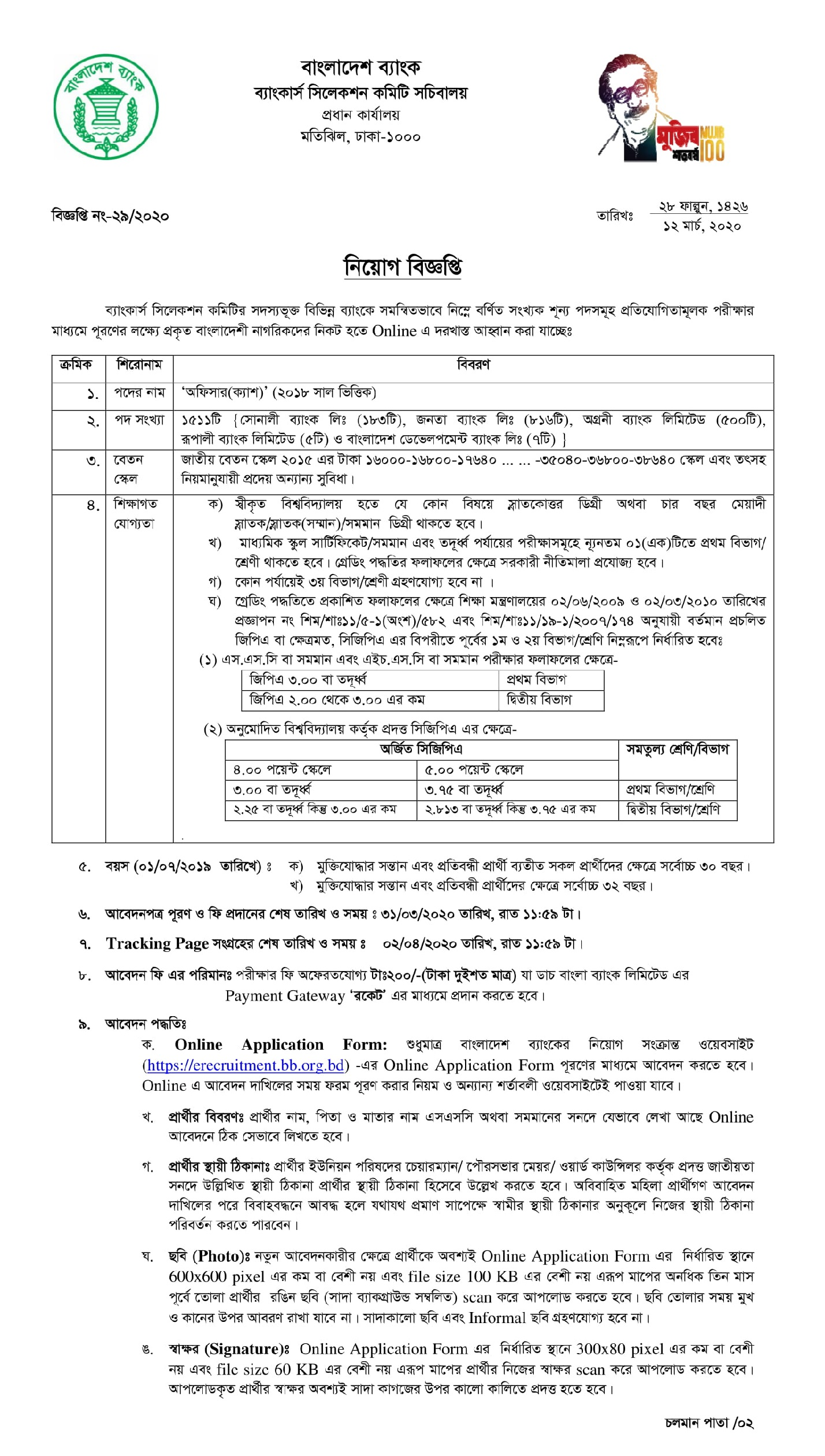 janata bank job online application form
