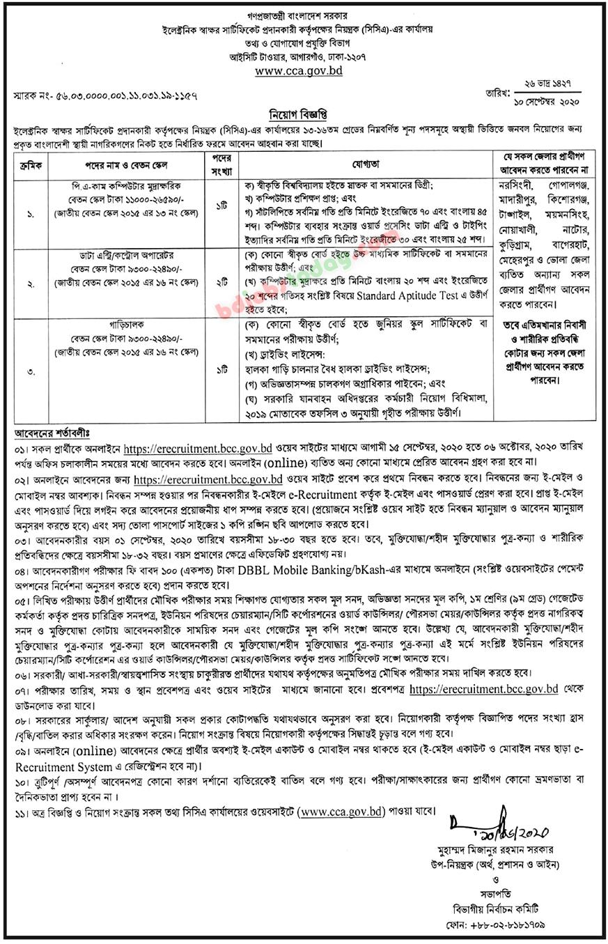 CCA Job Circular - cca.gov.bd