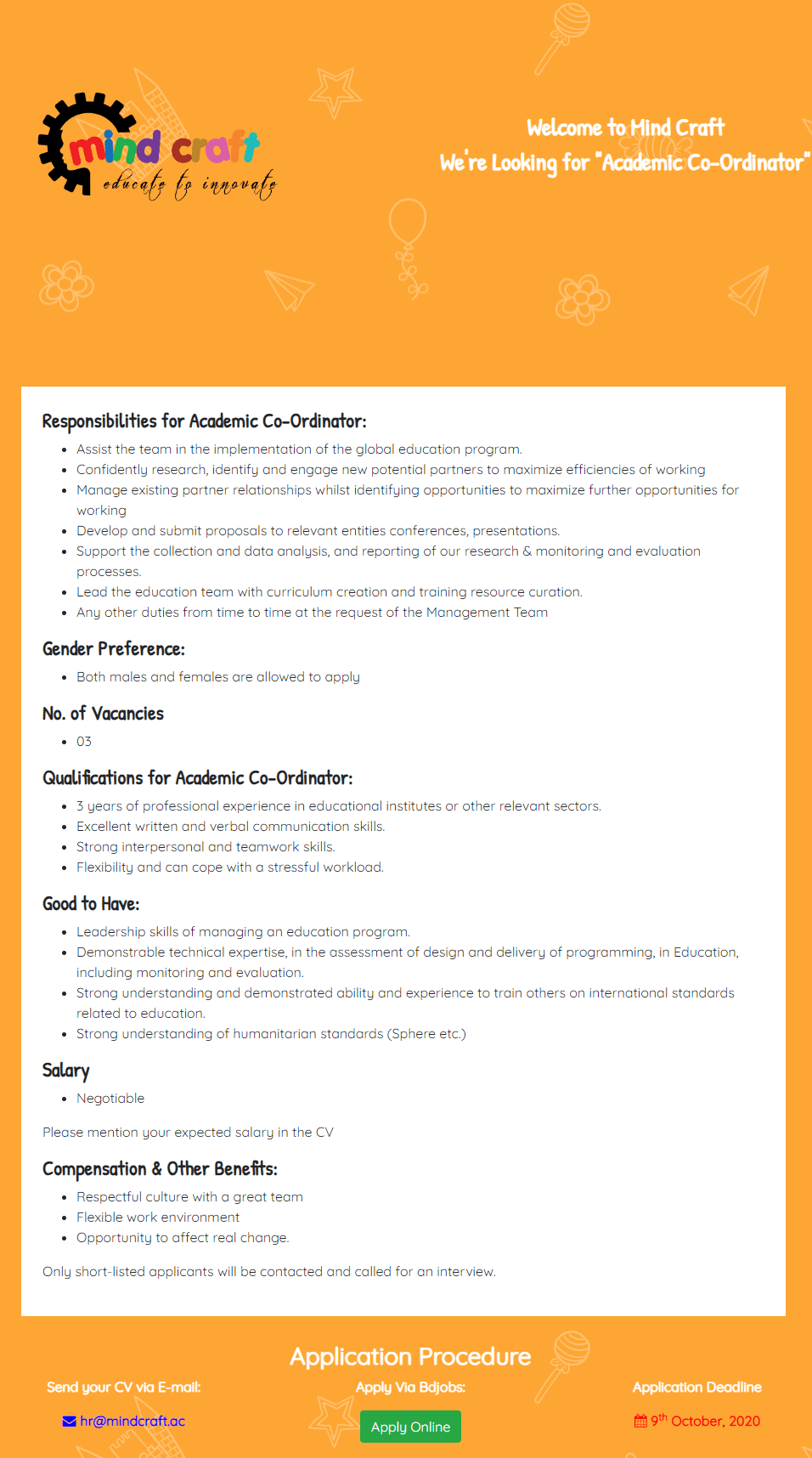 Mind Craft Ltd Job Circular