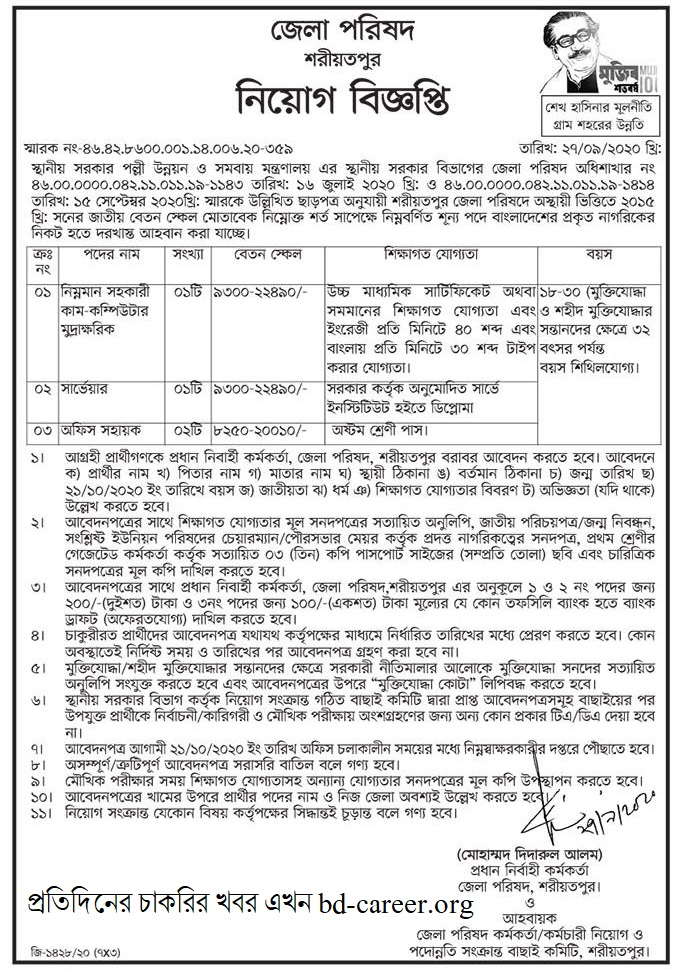 Zilla Parishad Office Job Circular 2020