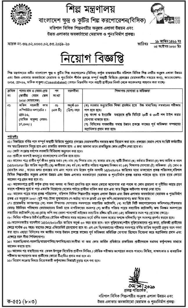 Industries Ministry Moind Job Circular 2020