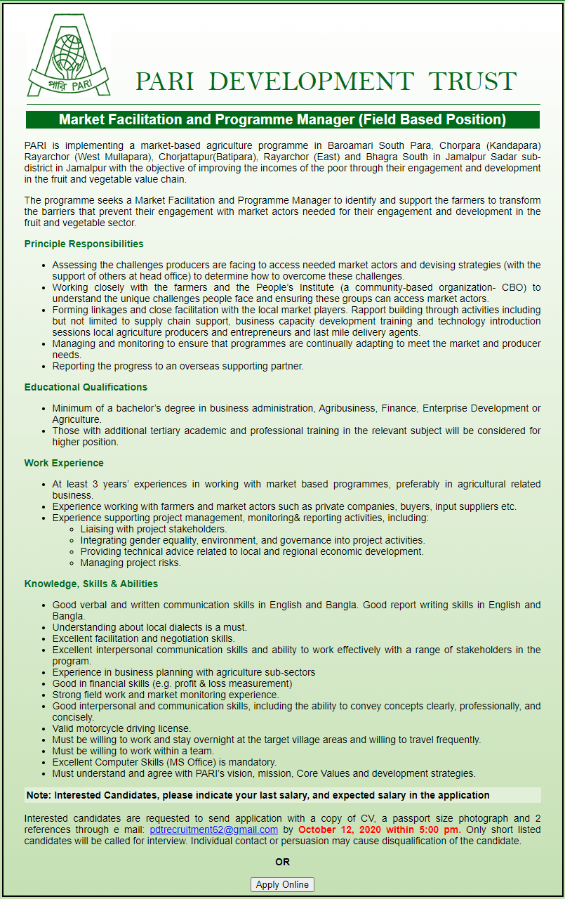 PARI Development Trust Job Circular