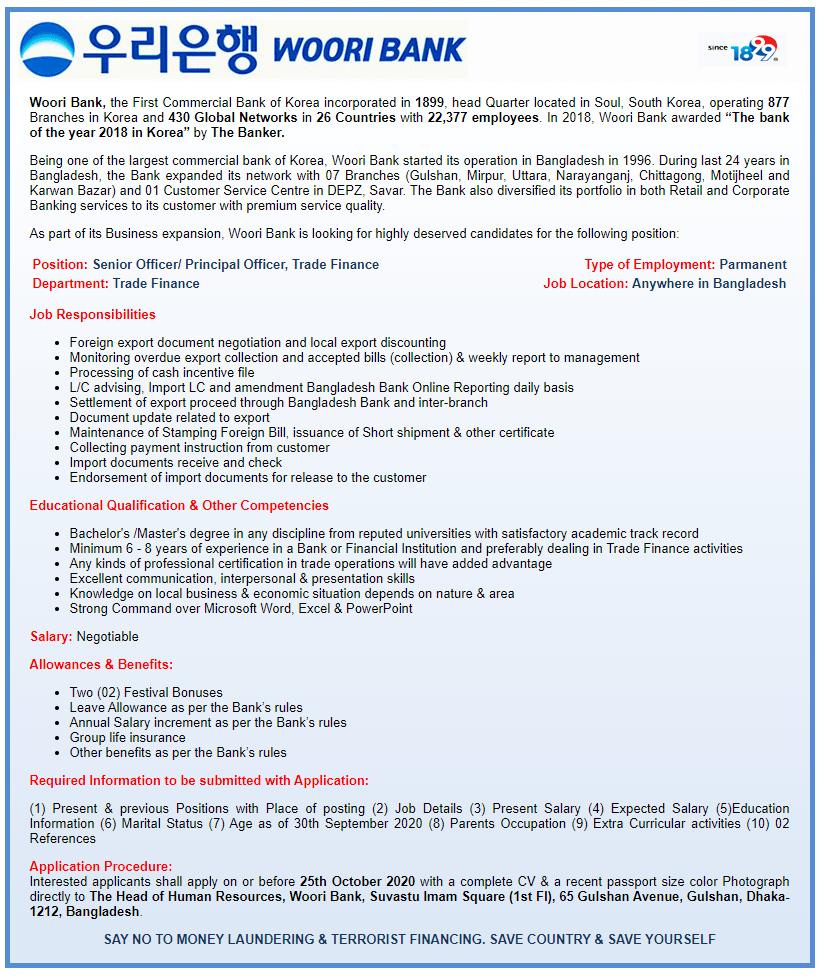 Woori Bank Job Circular 2020- wooribank.com