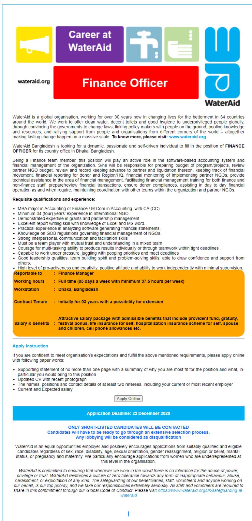 WaterAid Bangladesh Job Circular
