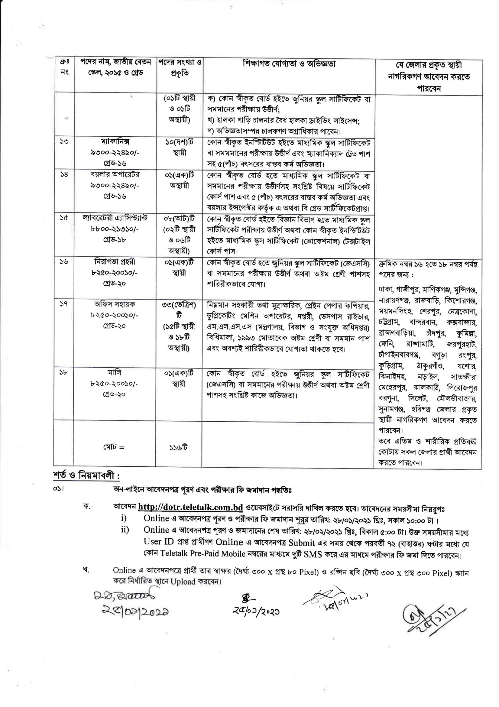 DOTR Teletalk 2021 - DOTR.teletalk.com.bd