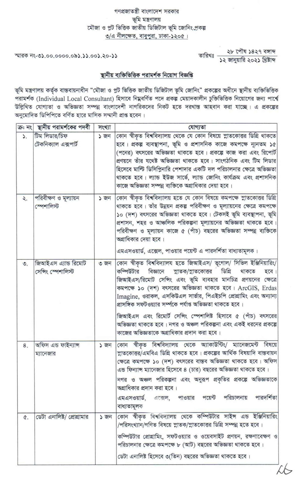 Ministry of Land Job circular 2021