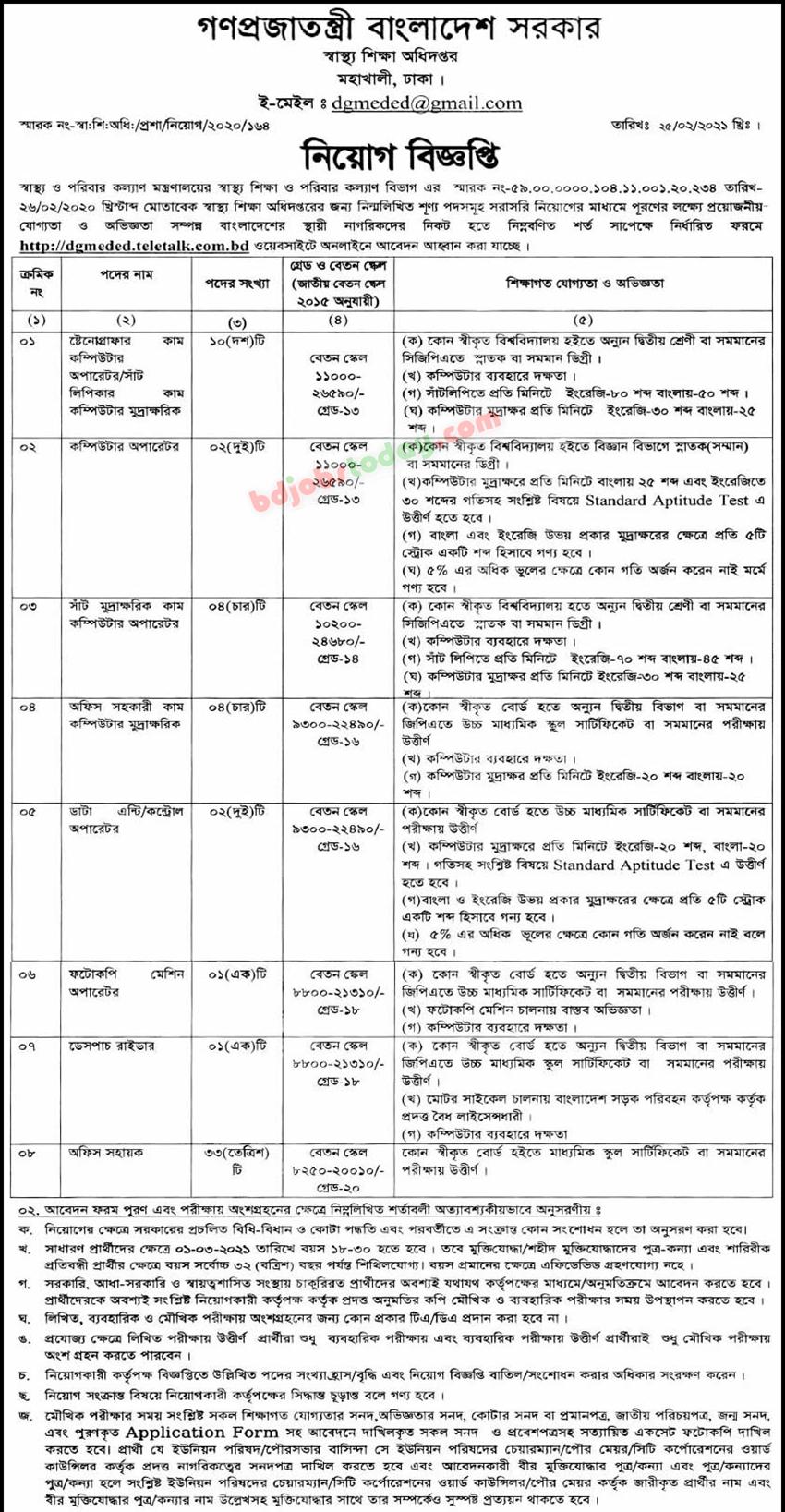 Directorate General of Medical Education DGME Job Circular 2021 image / PDF Download