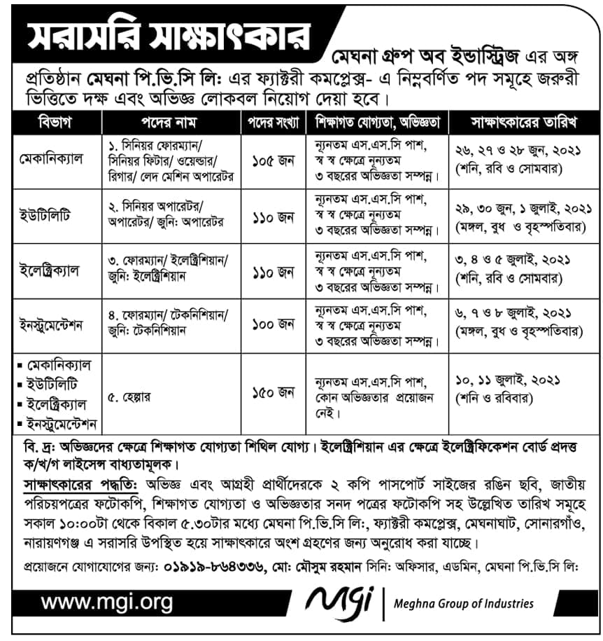 Apply For Meghna Group Industries Job
