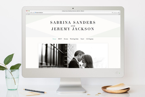 wedding registry website - photo of a computer monitor with a wedding website