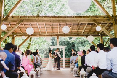 couple marrying at an outdoor pavilion Portland Wedding Planning