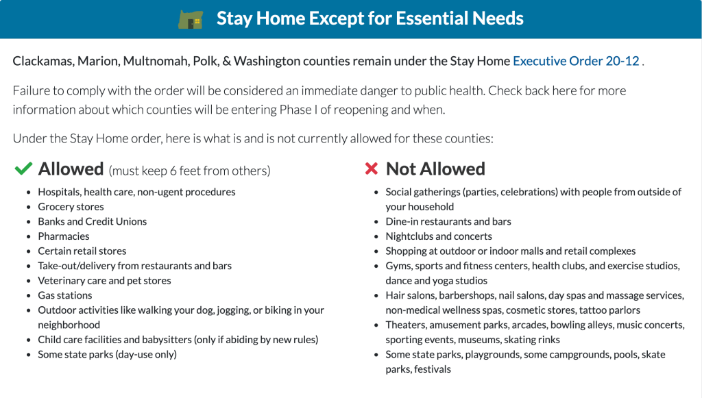 stay home save lives multnomah county health guidelines infographic
