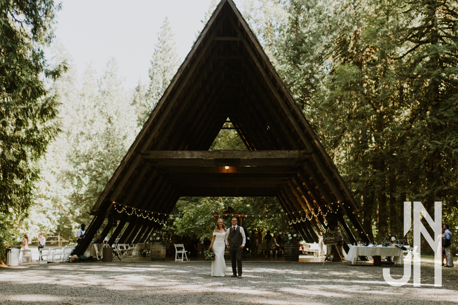 Wedding planning photo of a wedding couple in front of an A-frame structure in the forest