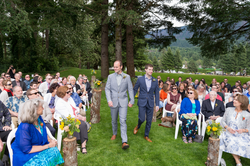 Two grooms ceremony walk - Columbia River Gorge Wedding