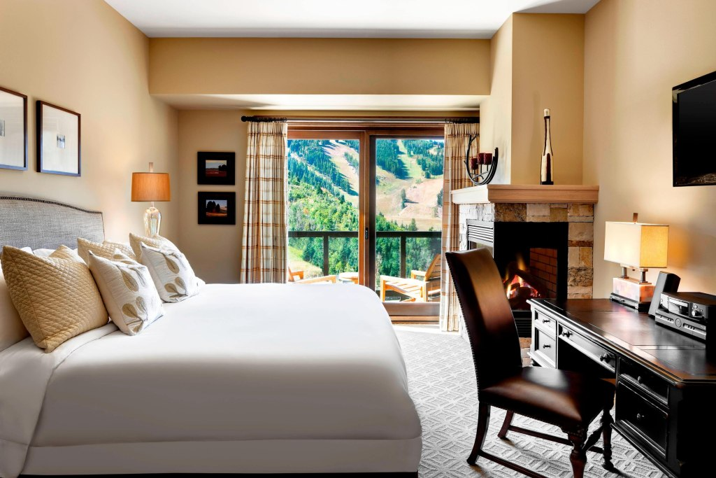 A bedroom view at St. Regis Hotel Park City