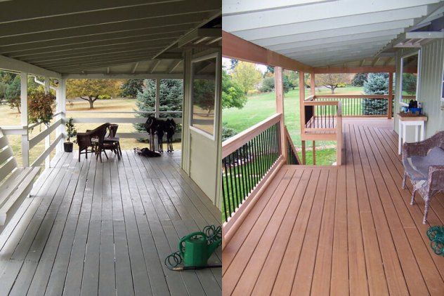before and after deck remodel