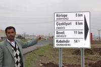 Turkish and Kurdish village names on a sign