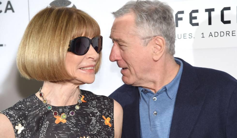 Anna Wintour, con Robert De Niro, el miércoles en Tribeca.