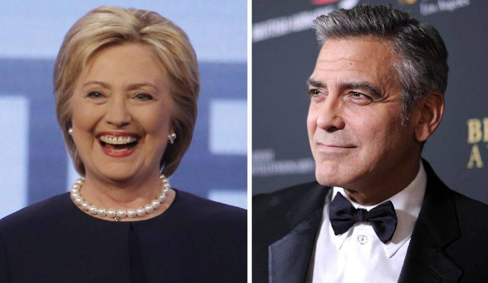 Hillary Clinton y George Clooney.
