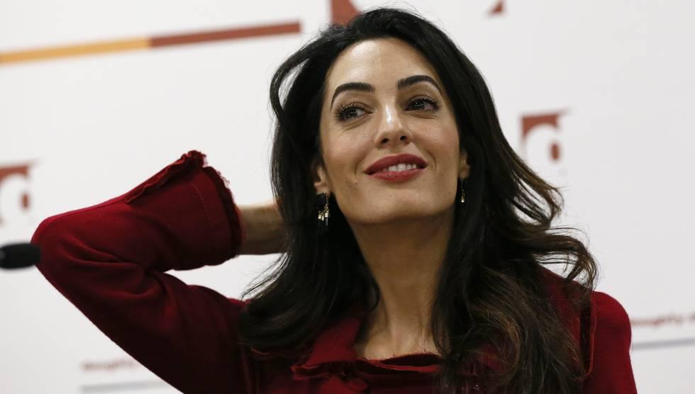 Amal Clooney durante una conferencia en Londres, en enero.