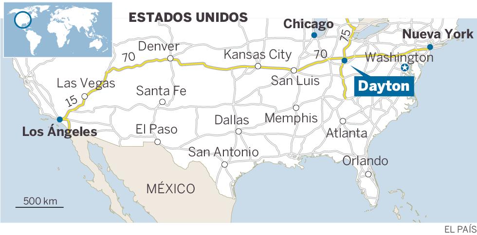 Localización de Dayton (EE UU, Ohio)