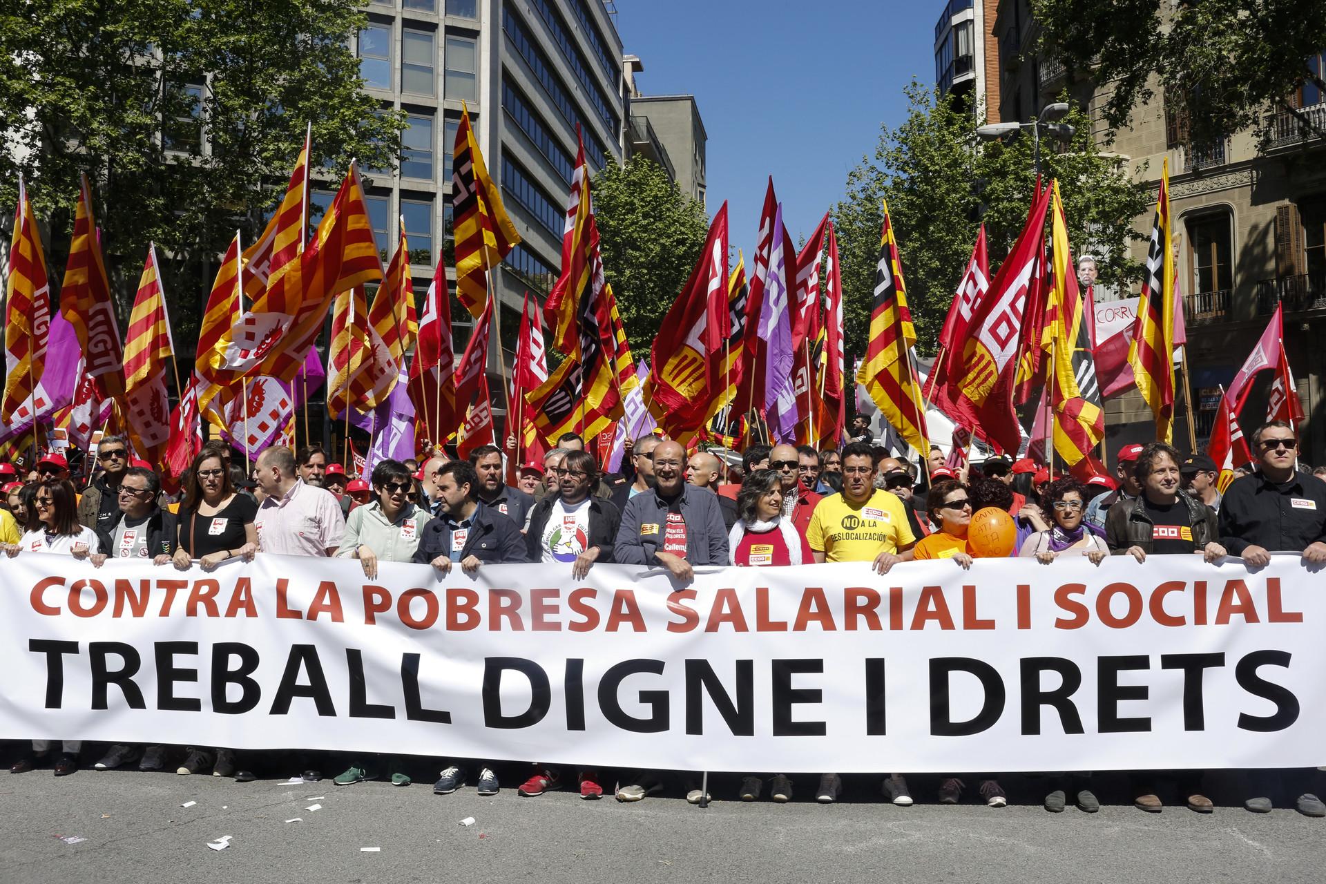 Marchas en las calles de Barcelona por el 1 de mayo