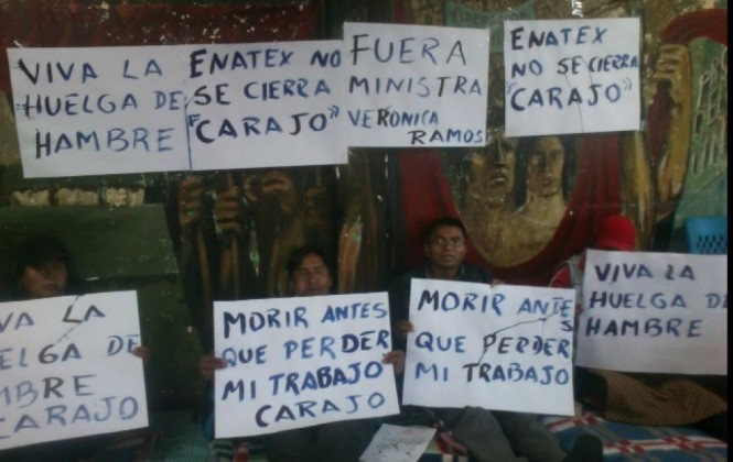 Extrabajadores de Enatex instalan su primer piquete de huelga de hambre