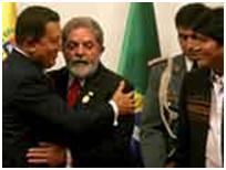 Lula, Chávez y Morales critican a Estados Unidos y piden soluciones a la crisis