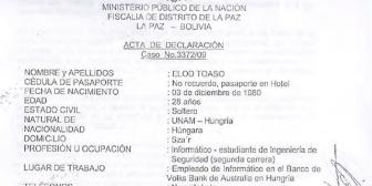 Acta de declaración de Elod Toaso