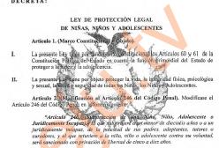 Ley Nº 054 de protección legal de niñas, niños y adolescentes