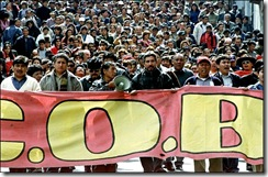 Bolivian workers march, 17 May 2005