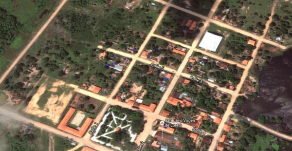 Una vista aérea de Loreto, capital de la provincia Marbán en el Beni