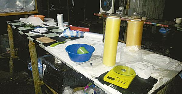 Uno de los laboratorios de cristalización de cocaína