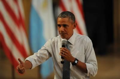 El presidente estadounidense Barack Obama habla en la Usina del Arte ante jóvenes emprendedores. (Guillermo Rodríguez Adami)